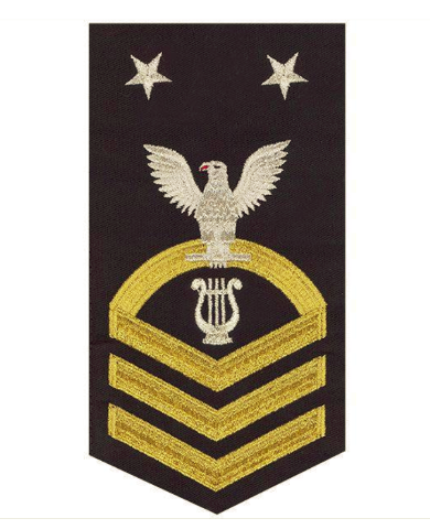 Vanguard NAVY E9 MALE RATING BADGE: MUSICIAN - SEAWORTHY GOLD ON BLUE