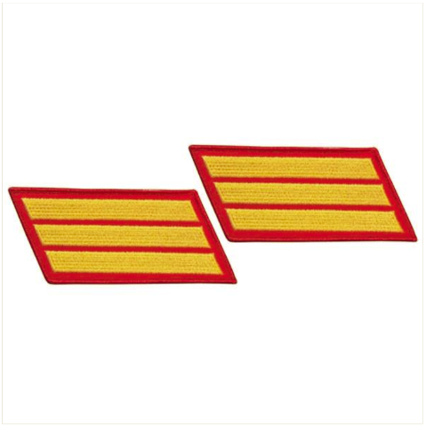 Vanguard MARINE CORPS SERVICE STRIPE: MALE - GOLD EMBROIDERED ON RED, SET OF 3