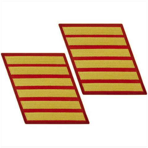 Vanguard MARINE CORPS SERVICE STRIPE: MALE - GOLD EMBROIDERED ON RED, SET OF 6