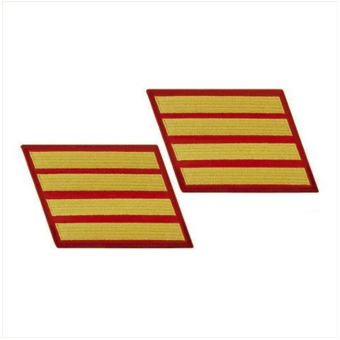 Vanguard MARINE CORPS SERVICE STRIPE: FEMALE - GOLD ON RED, SET OF 4