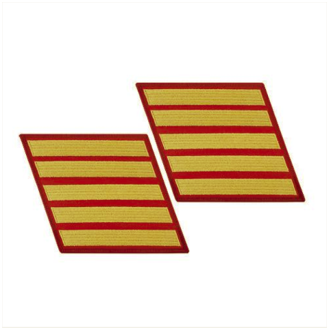 Vanguard MARINE CORPS SERVICE STRIPE: FEMALE - GOLD ON RED, SET OF 5