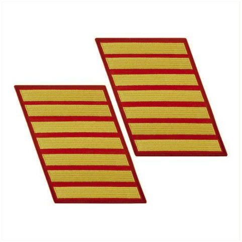 Vanguard MARINE CORPS SERVICE STRIPE: FEMALE - GOLD ON RED, SET OF 7