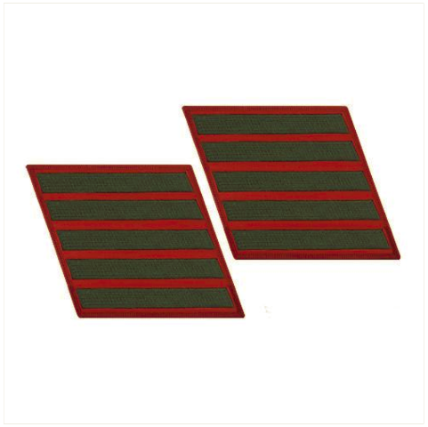 Vanguard MARINE CORPS SERVICE STRIPE: FEMALE - GREEN ON RED, SET OF 5