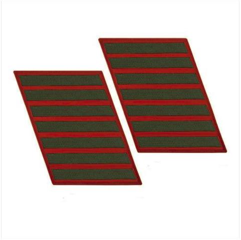 Vanguard MARINE CORPS SERVICE STRIPE: FEMALE - GREEN ON RED, SET OF 7