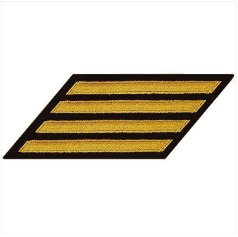 Vanguard NAVY CPO HASH MARKS: SEAWORTHY GOLD EMBROIDERED ON BLUE - SET OF 4