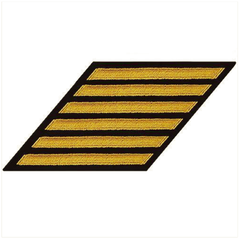 Vanguard NAVY CPO HASH MARKS: SEAWORTHY GOLD EMBROIDERED ON BLUE - SET OF 6
