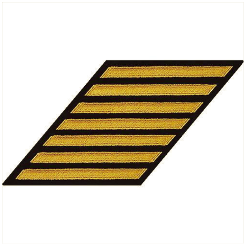 Vanguard NAVY CPO HASH MARKS: SEAWORTHY GOLD EMBROIDERED ON BLUE - SET OF 7