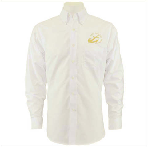 Vanguard NAVY LEAGUE MEN'S WHITE LONG SLEEVE OXFORD SHIRT WITH GOLD LOGO - M