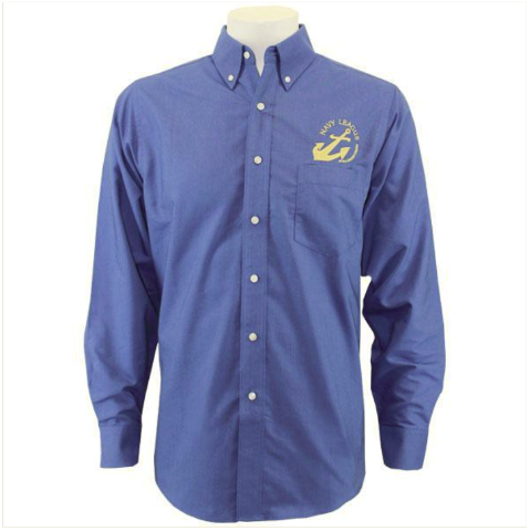 Vanguard NAVY LEAGUE MEN'S FRENCH BLUE LONG SLEEVE OXFORD SHIRT W/GOLD LOGO - S