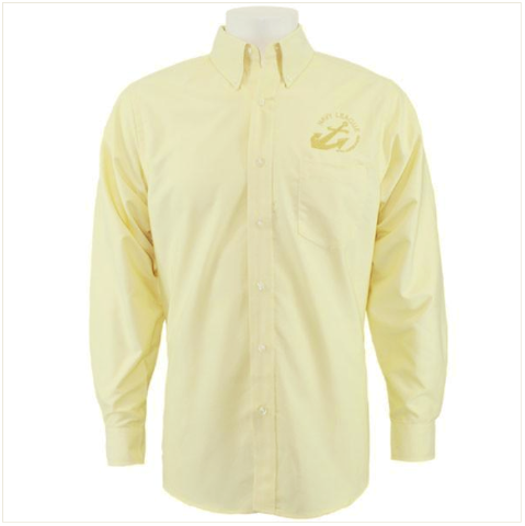 Vanguard NAVY LEAGUE MEN'S BUTTER LONG SLEEVE OXFORD SHIRT WITH GOLD LOGO XL
