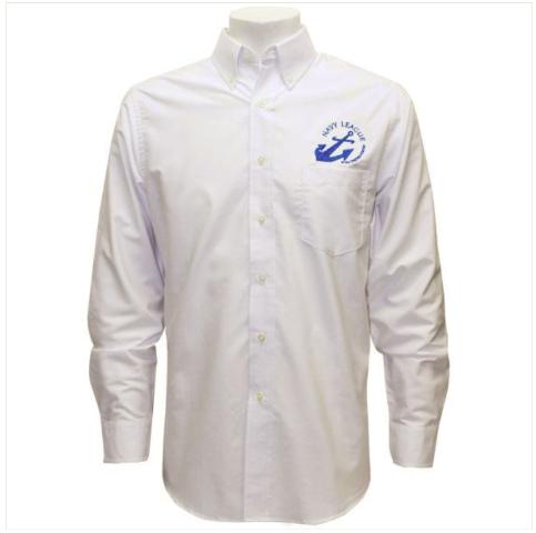 Vanguard NAVY LEAGUE MEN'S WHITE LONG SLEEVE OXFORD SHIRT W/BLUE LOGO - L