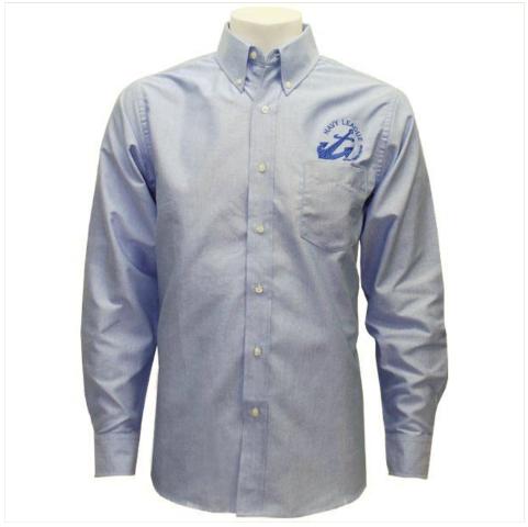 Vanguard NAVY LEAGUE MEN'S LIGHT BLUE LONG SLEEVE OXFORD SHIRT W/BLUE LOGO - 3XL