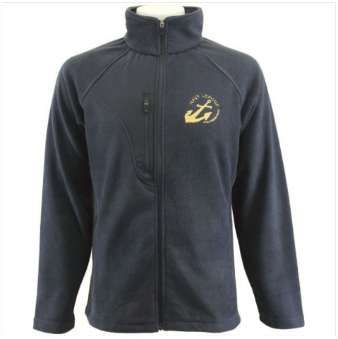 Vanguard NAVY LEAGUE FLEECE NAVY BLUE FLEECE JACKET W/GOLD NAVY LEAGUE LOGO - L