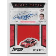 Greg Biffle NASCAR 2016 Panini Torque red sheet metal swatch auto /75 Autograph
