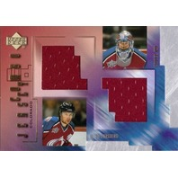 PATRICK ROY PETER FORSBERG 2001-02 Upper Deck Game Jerseys Combo Card #CFR