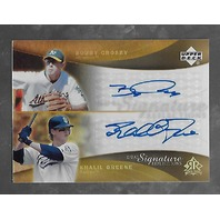 BOBBY CROSBY/KHALIL GREENE 2005 Upper Deck Dual Signature Reflections auto #BCKG