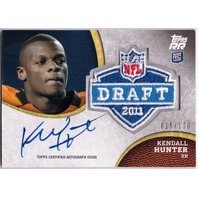 KENDALL HUNTER 2011 Topps Rising Rookies NFL Draft Patch Rookie Auto Card 15/170