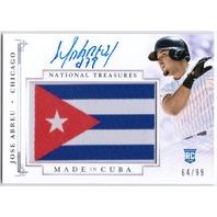 JOSE ABREU 2014 National Treasures Made In Cuba Flag Rookie Auto Card /99