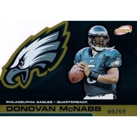 DONOVAN McNABB 2002 Pacific Atomic Gold Foil 5/5 Parallel Die Cut Card #73