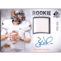 BRANDON WEEDEN 2012 SP Authentic Prime Jersey Patch Rookie Card Auto 436/885