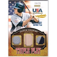 AUSTIN COUSINO 2013 Panini USA Baseball Rookie Triple Play Materials 16/25 Card