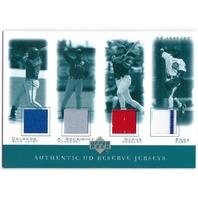 DELGADO Alex RODRIGUEZ GLAUS SOSA 2001 UD Reserve Game Jersey Quads Relic Card