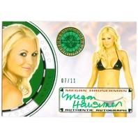 MEGAN HAUSERMAN 2013 Benchwarmer Vegas Baby 7/11 Auto Green Foil Card #76