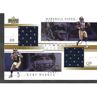 MARSHALL FAULK/KURT WARNER 2001 Upper Deck UD Teammates #WFT patch Rams