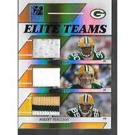 FAVRE/GREEN/FERGUSON 2006 Donruss Elite Teams Jersey /99 3 color patch #8