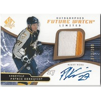 Patric Hornqvist 2008-09 UD SP Authentic Future Watch Limited Auto Patch /100