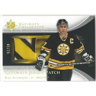 Ray Bourque 2005-06 Ultimate Collection Game Used Jersey Patch /75 Bruins P-RB