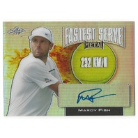 Mardy Fish 2016 Leaf Metal Tennis Fastest Serve 232kmh Prismatic Autograph Card