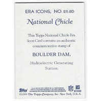 Boulder Dam Topps 2009 National Chicle Authentic Stamp Relic Card #ER-BD