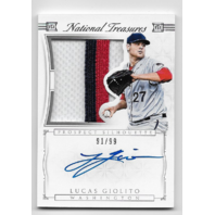 LUCAS GIOLITO 2015 Panini National Treasures patch auto /99 Washington Nationals
