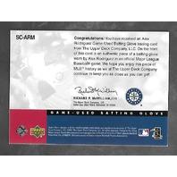 ALEX RODRIGUEZ 2001 Upper Deck Sluggers Choice batting glove swatch #SC-ARM