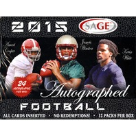 2015 Sage Autographed Football Hobby Box (Sealed)