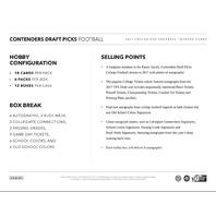 2017 Panini Contenders Collegiate Draft Football Hobby 6 Pack Box (Sealed)