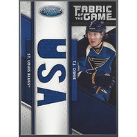 T.J. Oshie St Louis Blues 2011-12 Totally Certified Fabric of the Game Relic Card /25
