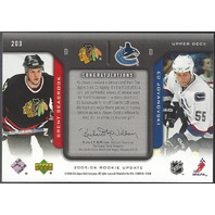 Brent Seabrook Ed Javanovski 2005-06 Upper Deck Rookie Update Inspirations /999