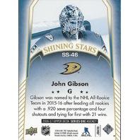 John Gibson Anaheim Ducks 2016-17 Upper Deck Series One Shining Stars #SS-46