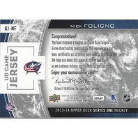 Nick Fogligno 2013-14 Upper Deck Series One Hockey #GJ-NF Game Used Jersey