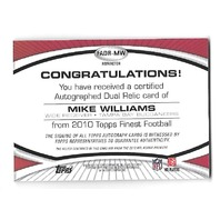 MIKE WILLIAMS 2010 Topps Finest Dual Jersey Autograph Gold Refractor auto /25 RC