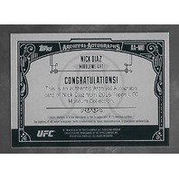 NICK DIAZ 2016 Topps UFC Museum Collection Archival Autographs /25 Gold auto