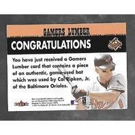 CAL RIPKEN JR 2000 Fleer Gamers Lumber game used bat piece