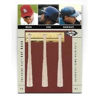 ROLEN/SOSA/RODRIGUEZ 2003 Fleer Box Score MLB Bat Rack game used bat piece /250