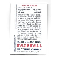 MICKEY MANTLE 1996 Topps Finest Commemorative Set 1951 Bowman Refractor #1