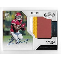 KAREEM HUNT 2017 Panini Certified Freshman Fabrics RC auto autograph 3 color patch /499