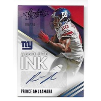 PRINCE AMUKAMARA 2014 Panini Absolute Ink Spectrum Purple Auto /20 autograph