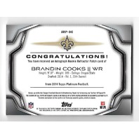 BRANDON COOKS 2014 Topps Platinum Rookie Patch Auto Blue Refractor /25 Patriots