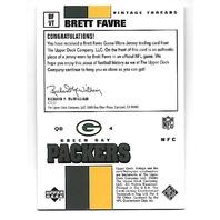 BRETT FAVRE 2001 Upper Deck Vintage Threads patch #BFVT Packers Jets Vikings